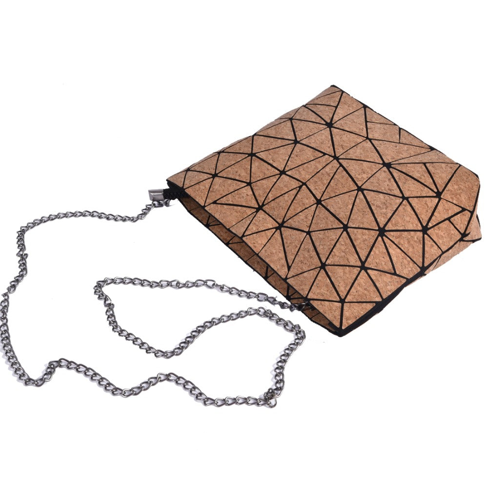 Natural Elements Cork Wood Geometric Chain Shoulder Bag