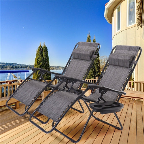 Gray 2PC Zero Gravity Reclining Lounge Chairs Pillows