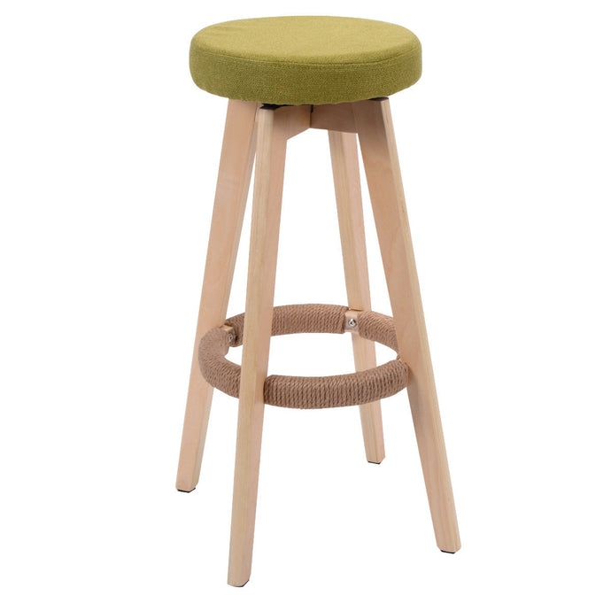 29-Inch Round Wood Bar Stool Modern Dining Chair Counter Height Linen Seat Green Bar