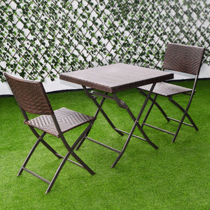 3 PC Outdoor Folding Table Chair Furniture Set Rattan Wicker Bistro Patio