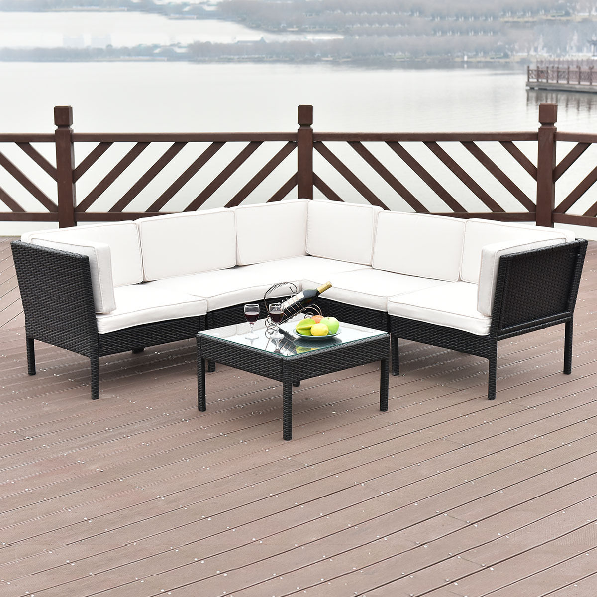 6 PCS Rattan Wicker Patio Furniture Sectional Set