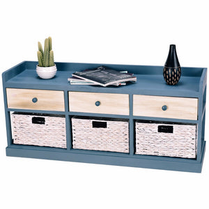 Natural Elements Chest Cabinet Organizer w/ 3 Wood Drawer 3 Baskets