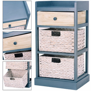 Bedside Table Nightstand Chest Cabinet Storage Organizer w/1 Drawer and 2 Basket