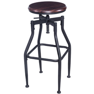 Vintage Bar Stool Metal Design Wood Top Height Adjustable Swivel