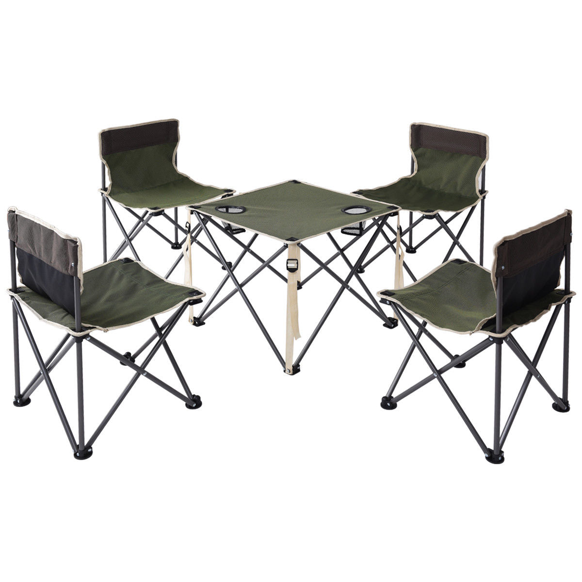 Green Portable Outdoor Folding Table Chairs Set Camping Beach Picnic Table  with Carrying Bag - Natural Elements By L / Green Portable Outdoor Folding Table Chairs