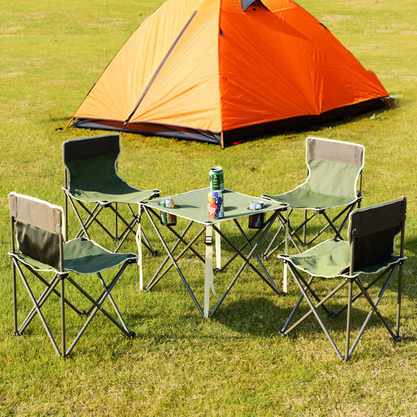 Green Portable Outdoor Folding Table Chairs Set Camping Beach Picnic Table  With Carrying Bag ...