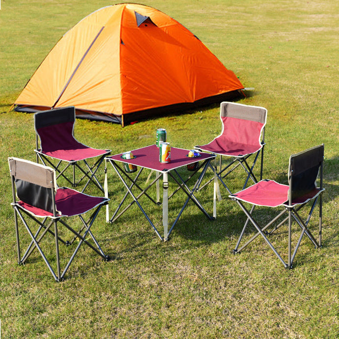 Pink Portable Outdoor Furniture Set Table 4 Chairs Set
