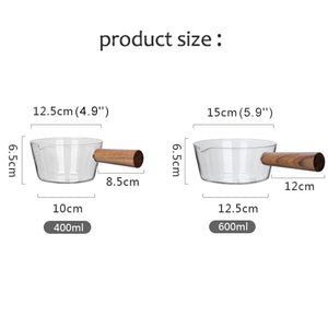 Natural Elements Multifunctional Glass Milk Pot With Wooden Handle