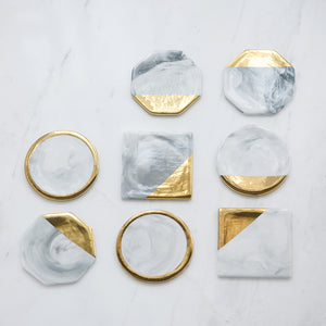 Gold Plated Ceramic Coasters Nordic Style Marble Heat Resistant Table Decor