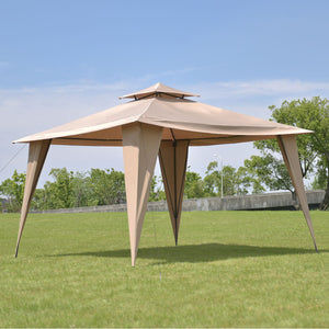2 -Tier 11 'X 11 ' Gazebo Canopy Shelter Awning Tent Steel Frame Patio Garden Brown Canopy Tent