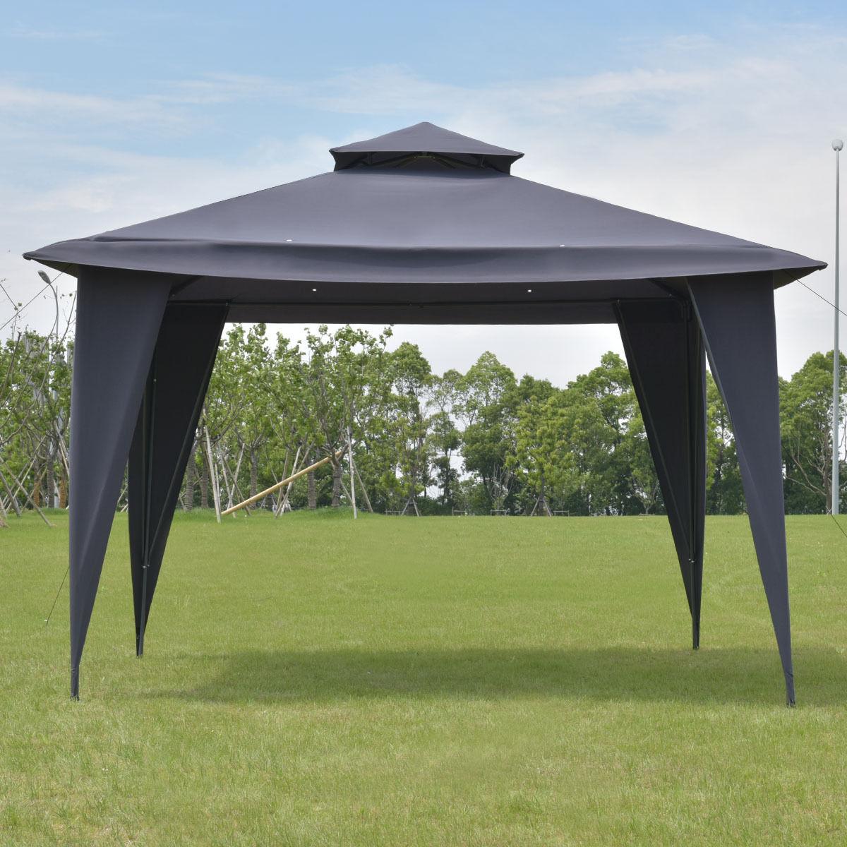 2  Tier 11 U0027X 11 Black U0027Gazebo Canopy Shelter Portable Tent Steel Frame