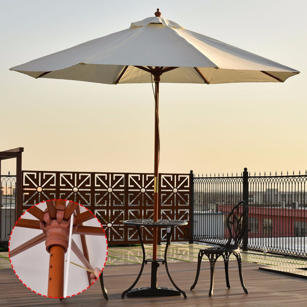 Adjustable 9FT Wooden Patio Umbrella Sun Shade Beige