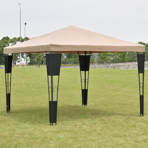 Outdoor 10' X 10' Rattan Wicker Gazebo Canopy Tent Garden Shelter Awning