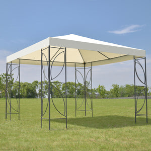 Patio 10 'X10 'Square Gazebo Canopy Tent Waterproof Steel Frame Shelter Awning with Beige Cover