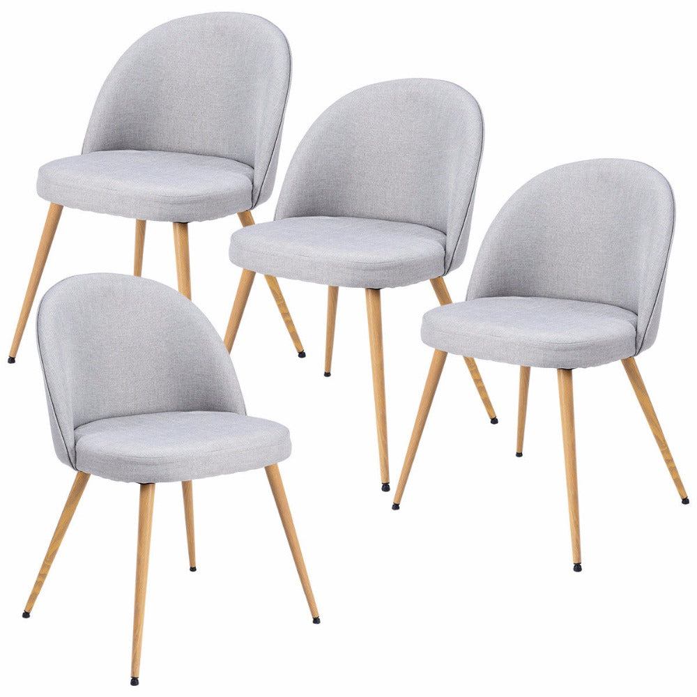 Set of 4 Fabric Cushion Seat Accent Arm Chair Modern Dining Chair Metal Leg