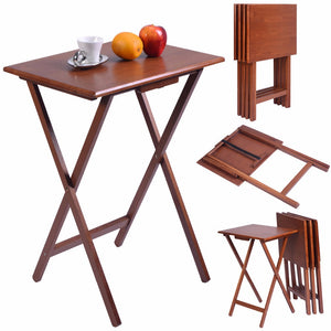 Set of 4 Portable Natural Pine Wood TV Table Folding Tray
