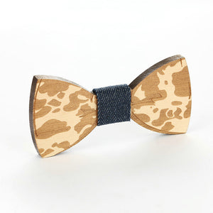 Natural Elements #3 Wooden Geometric Engrave Bow Tie