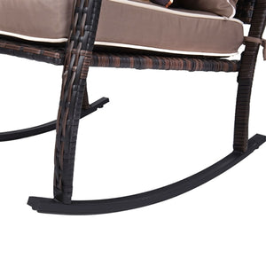 Natural Elements Brown 3 Piece Patio Set Rattan Wicker Rocking Chairs with Coffee Table