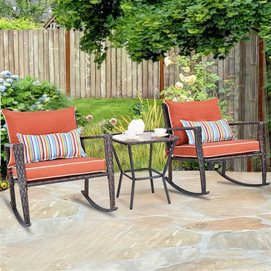 Natural Elements Red 3 Piece Patio Set Rattan Wicker Rocking Chairs with Coffee Table