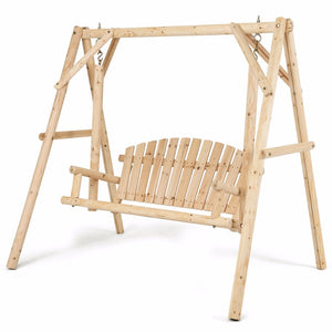 Rustic Wooden Porch Swing Bench W/A-Frame Stand Set Natural Garden Furniture