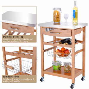 Bamboo Rolling Kitchen Trolley Storage Island Serving Cart Stainless Steel Top