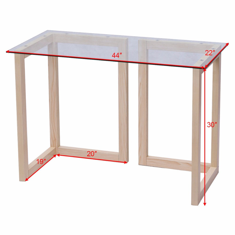 "44"" Tempered Glass Top Wood Console Desk Modern Living Room Sofa Accent Table"