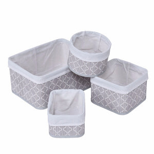 Natural Elements Fabric Lined Bamboo Baskets 4 Pc Set