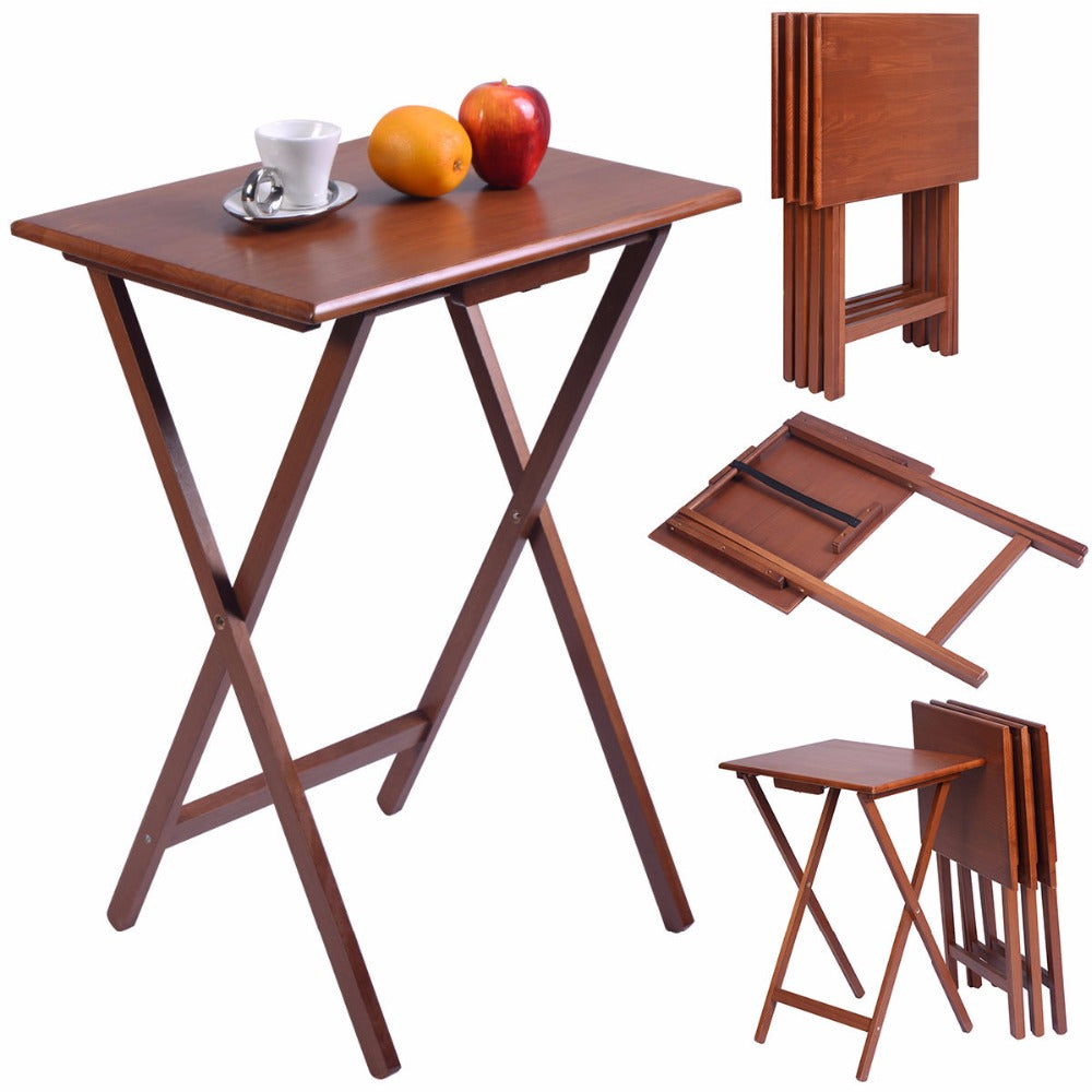 Set Of 4 Pieces Portable Natural Pine Wood TV Table Folding Tray
