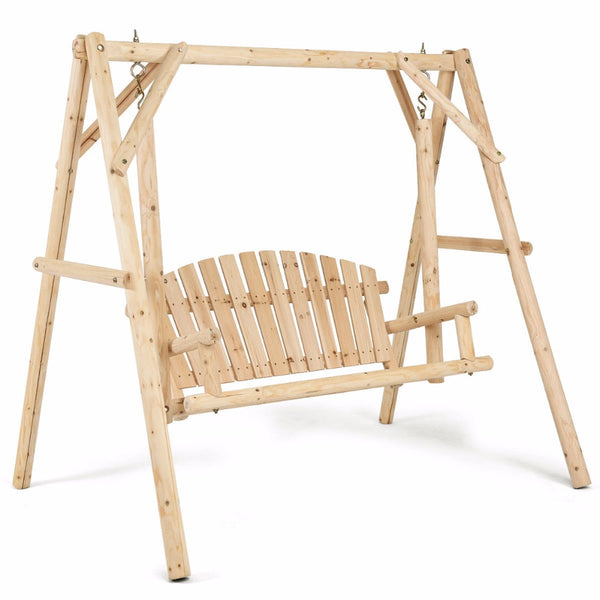 Natural Elements Rustic Wooden Porch Swing Bench W/A-Frame Stand Set ...