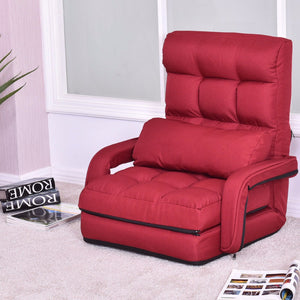 Folding Lazy Modern Floor Sofa Lounger Chair Bed with Armrests and Pillow