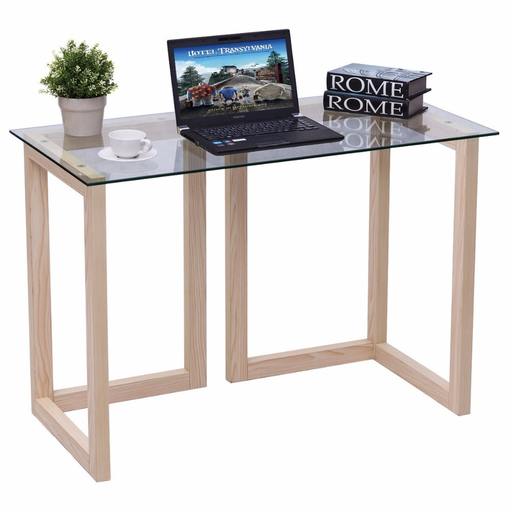 Natural Elements By L / 44 Tempered Glass Top Wood Console Desk ...