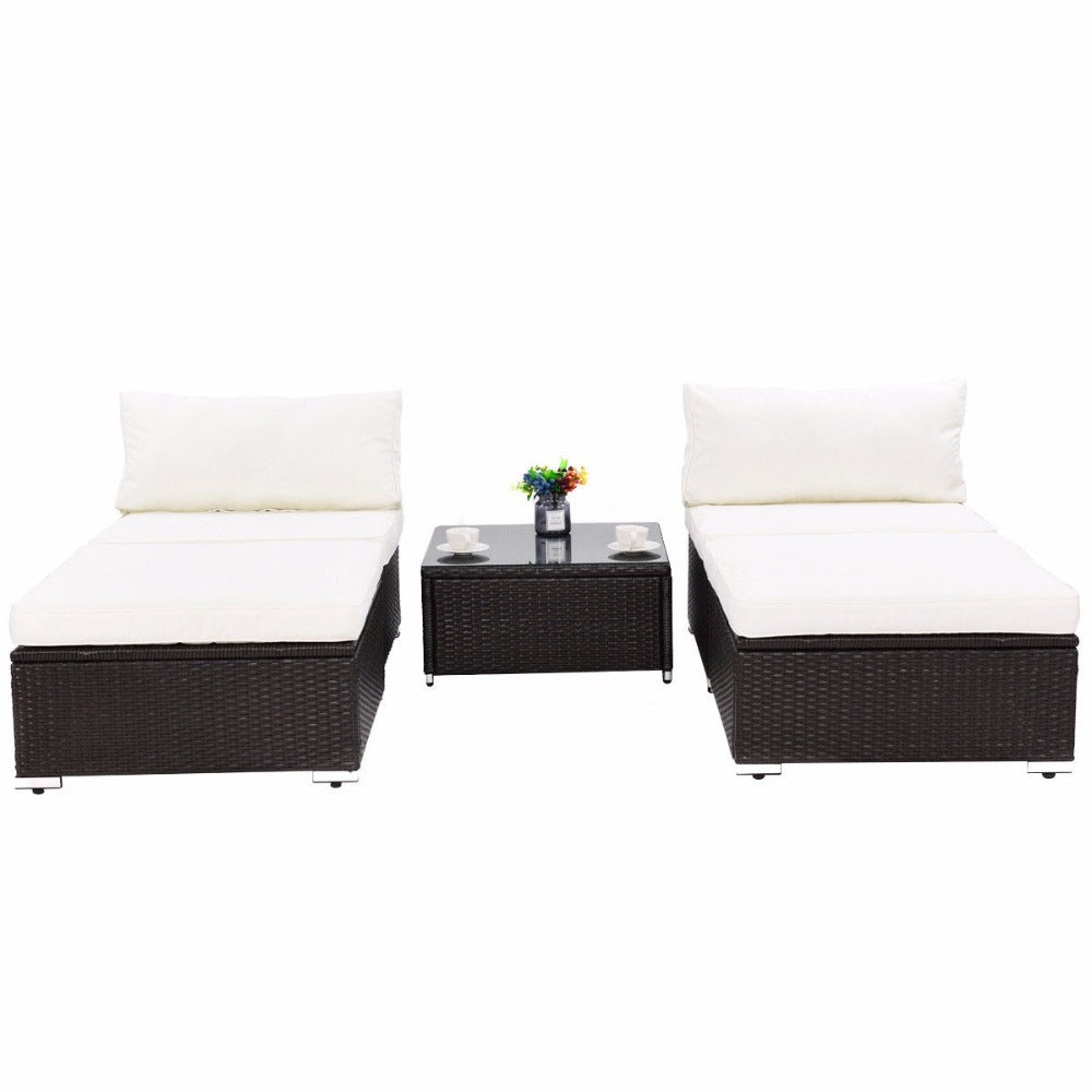 5 PC Patio Lounge Rattan Furniture Wicker Sofa Daybed Furniture Set