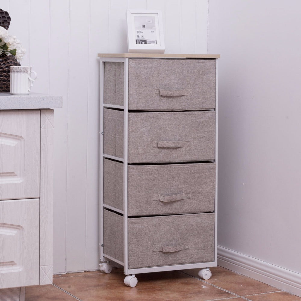 Fabric 4 Drawer Storage Unit Home Organizer Cart