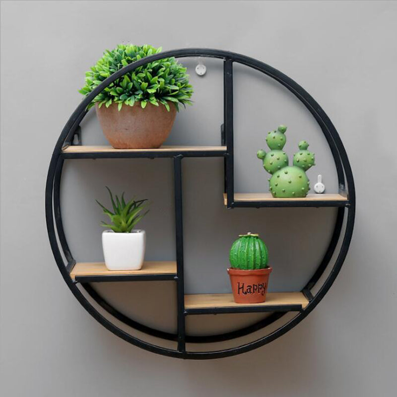 Natural Elements High Quality Circle Wooden Retro Storage Rack