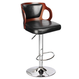 Walnut Bentwood Adjustable Height Black Leather Bar Stools with Black Vinyl Seat