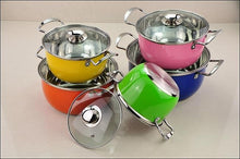Natural Elements 10pc Of Stainless Steel Color Coating Cookware Set