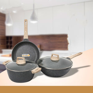 Natural Elements Woodstone Set of 3 Non-Stick Pan Combination