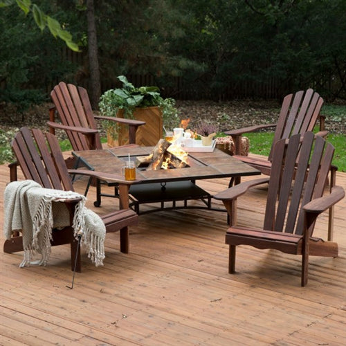 5 Piece Natural Elements Dark Amber Deluxe Adirondack Chair Natural Wood Burning Fire Pit Chat Set