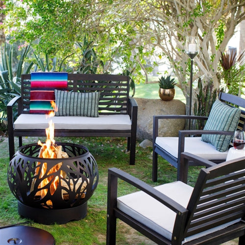 5 Piece Natural Elements Espresso Gas Burning Fire Pit Patio Set