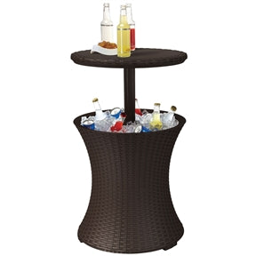 Outdoor Patio Cocktail Table Cooler Bar in Brown Wicker Resin