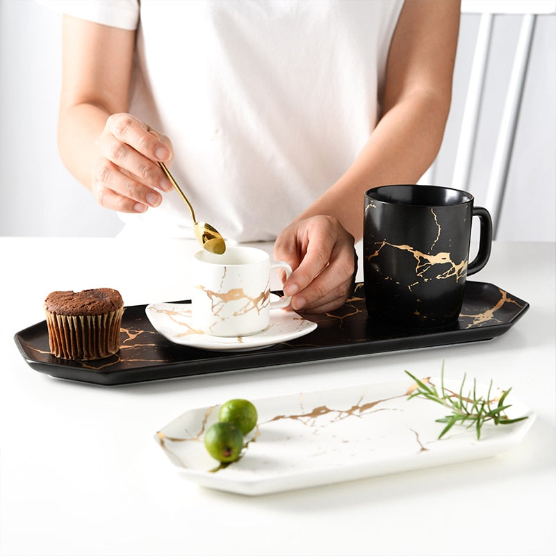 Natural Elements Long Marble Texture Ceramic Plate Food Dish