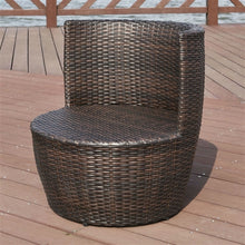 Natural Elements Modern 3-Piece Stackable Rattan Patio Furniture Set with Cushions