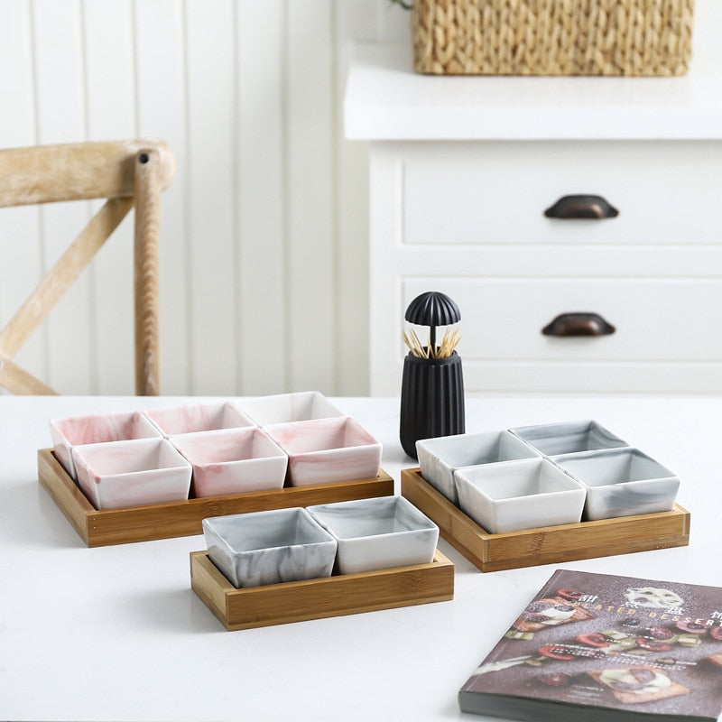 Natural Elements Marble Ceramic Eco Natural Serving Bamboo Tray Set