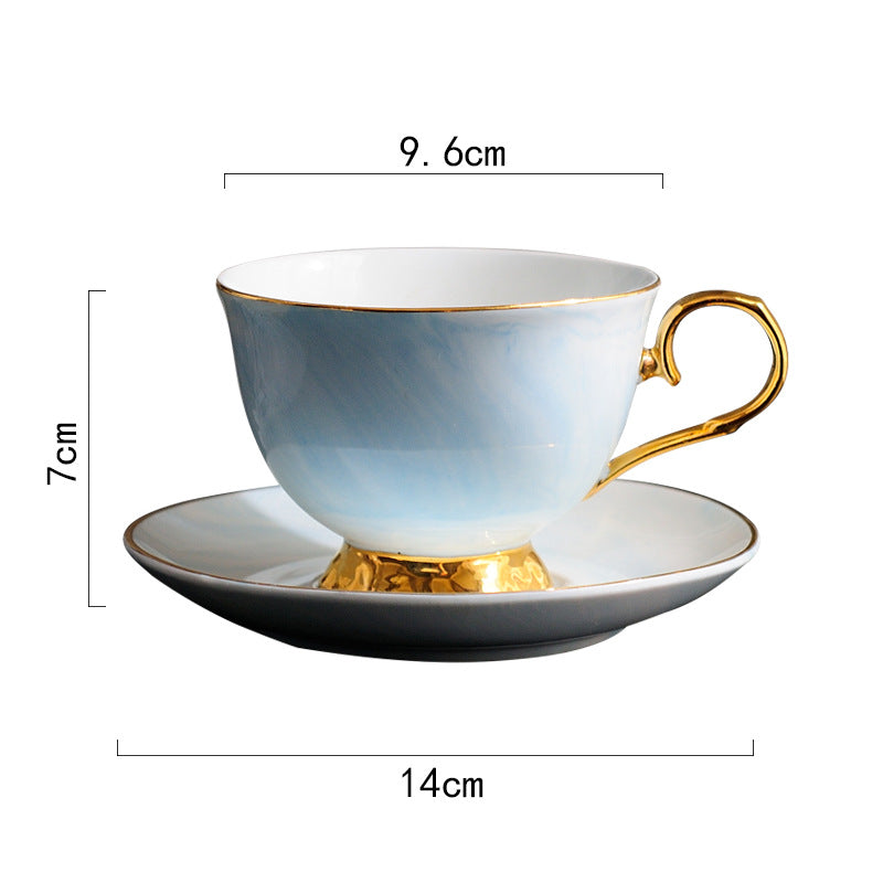 Natural Elements Marble Pattern Ceramic Cup Saucer Set
