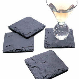 Natural Elements (4Pc) Square/Round/Heart Slate Coasters