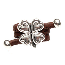 Natural Elements Cork Antique Silver Lucky Clover Ring Handmade HR-031