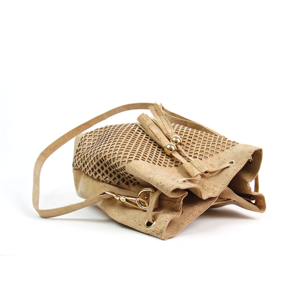 Jewel Natural Elements Cork Shoulder Bucket Bag Handmade Handbag