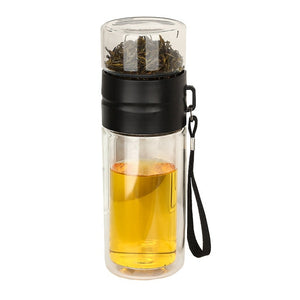 Double Layer Glass Travel Bottle and Cup Portable High Temperature Resistance