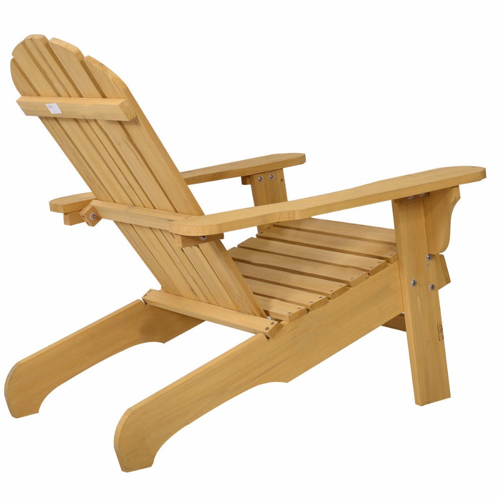 Natural Fir Wood Adirondack Chair Patio Lawn Deck Gardens