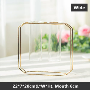 Nordic Glass Cuvette Gold Plated Iron Plant Vase Terrarium